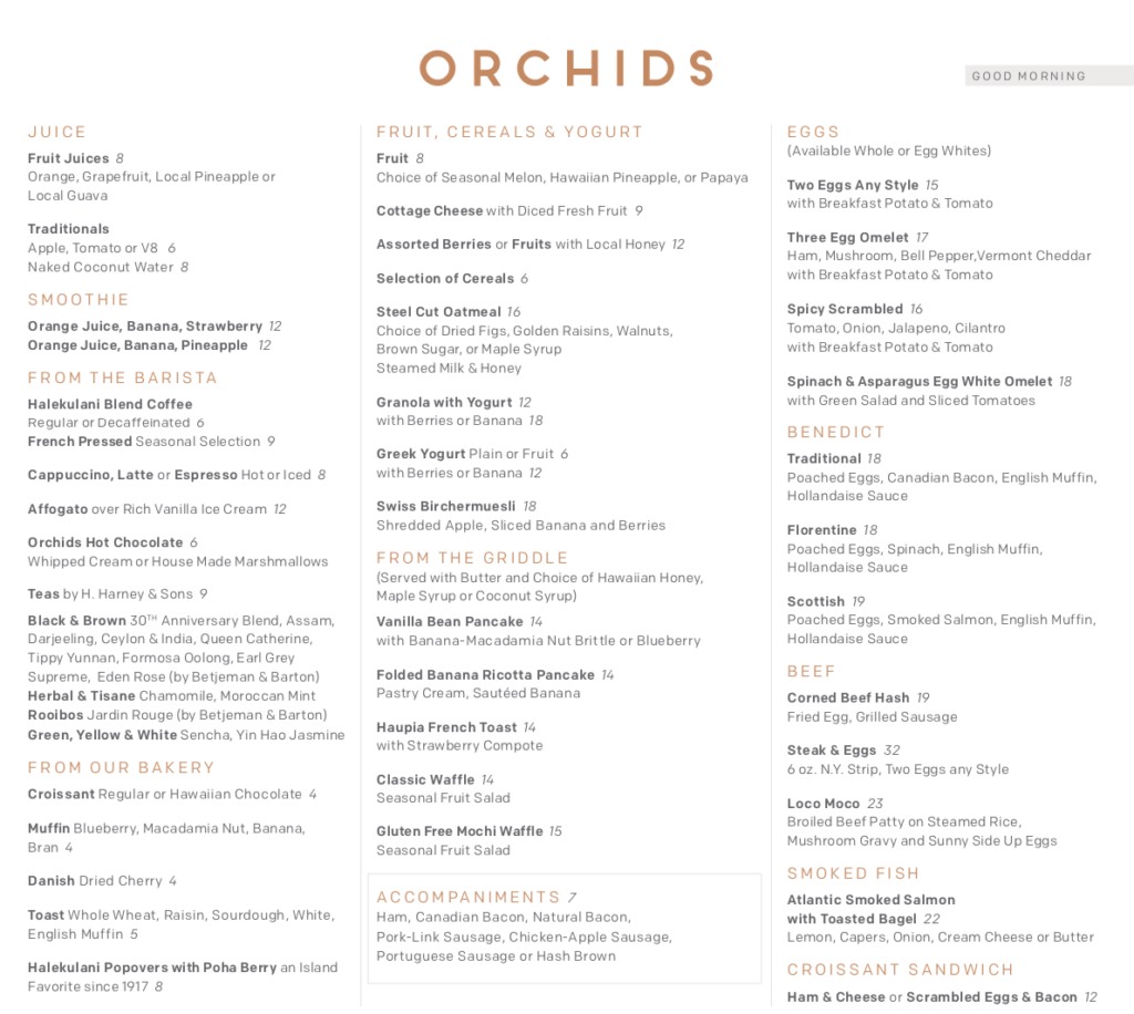 Orchids Breakfast menu